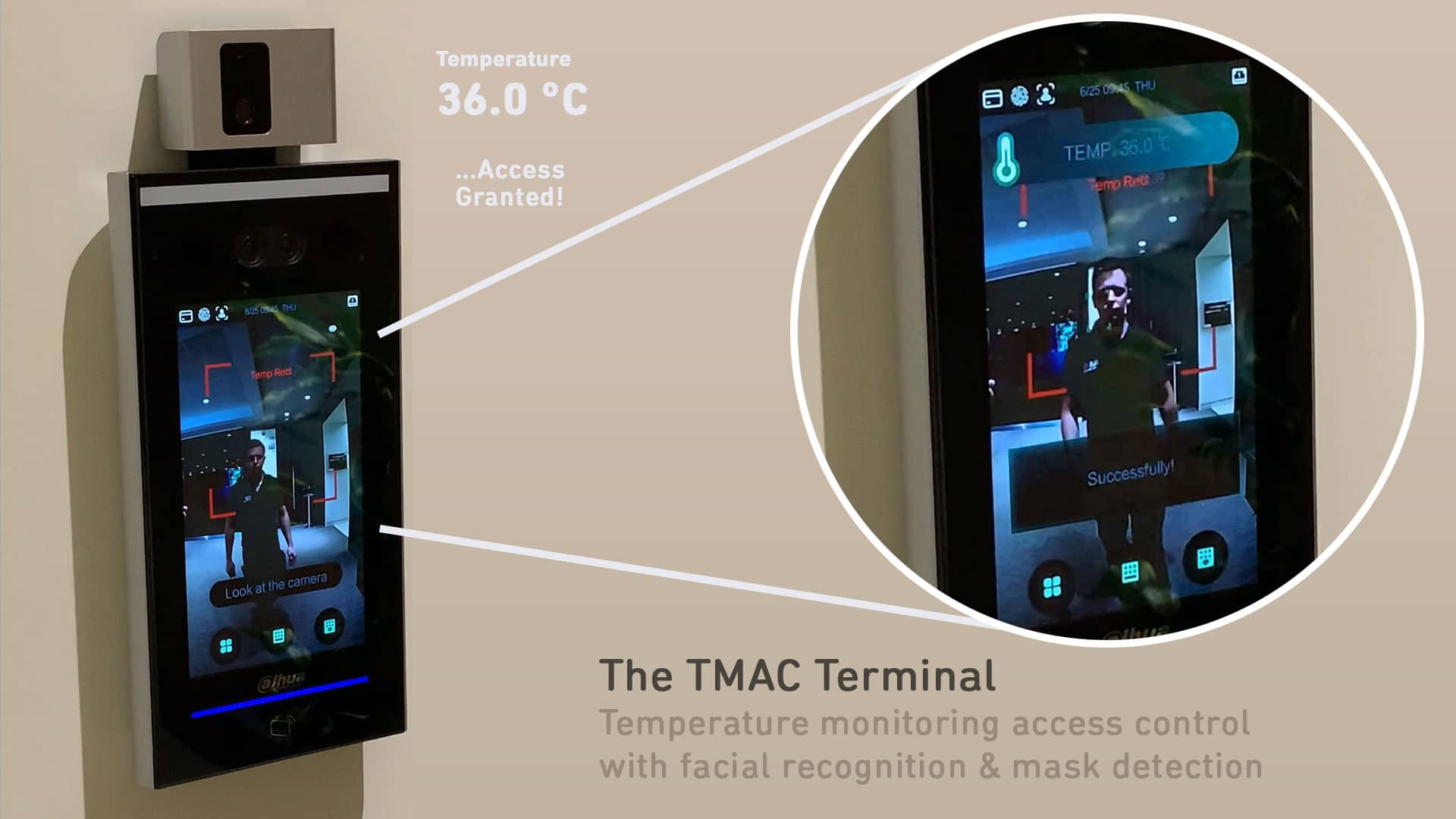 COVID access control terminal with automatic temperature monitoring.