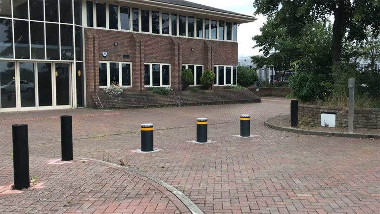 Automated electric bollards.