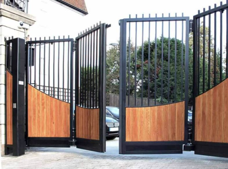 electric gate wooden